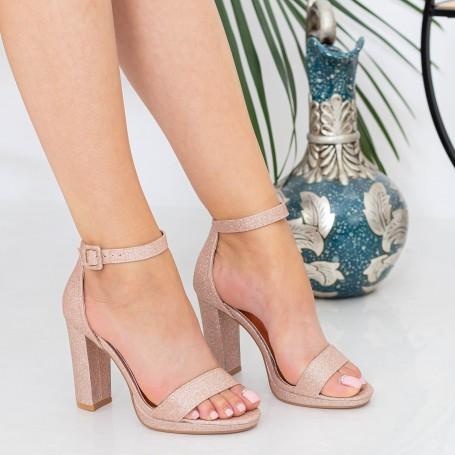 Sandale Dama cu Toc gros XKK222A Champagne Mei