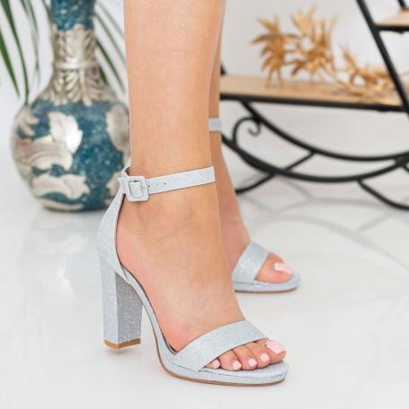 Sandale Dama cu Toc gros XKK222A Silver Mei