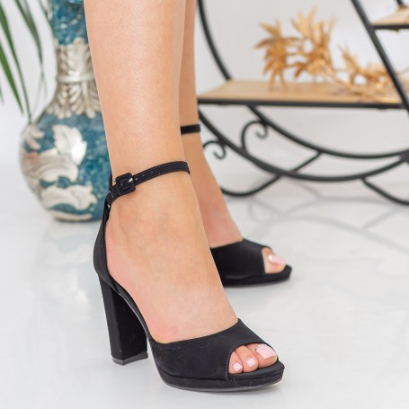 Sandale Dama cu Toc gros XKK223 Black Mei