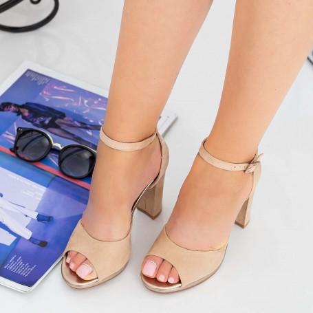 Sandale Dama cu Toc gros XKK223 Nude Mei