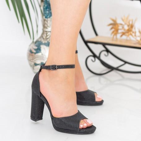 Sandale Dama cu Toc gros XKK223A Black Mei
