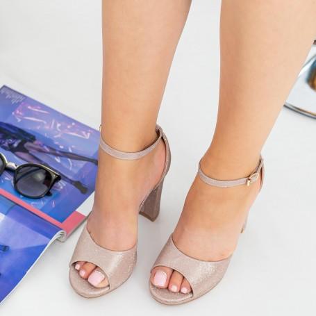 Sandale Dama cu Toc gros XKK223A Champagne Mei