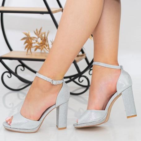 Sandale Dama cu Toc gros XKK223A Silver Mei