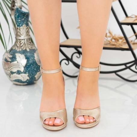 Sandale Dama cu Toc gros XKK223B Gold Mei
