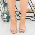 Sandale Dama cu Toc gros XKK223B Gold (L81) Mei