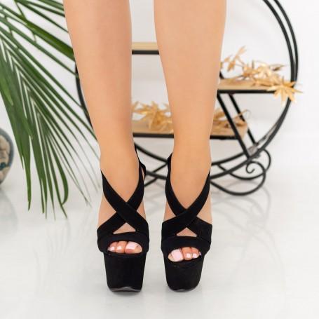 Sandale Dama cu Toc subtire si Platforma HLX81 Black Mei