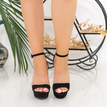 Sandale Dama cu Toc gros si Platforma XDH289 Black Mei