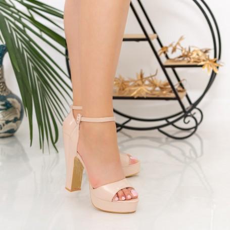Sandale Dama cu Toc gros si Platforma XDH289 Nude Mei