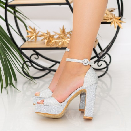 Sandale Dama cu Toc gros si Platforma XDH289A Silver Mei