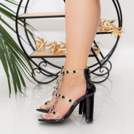 Sandale Dama cu Toc gros XKK221 Black Mei