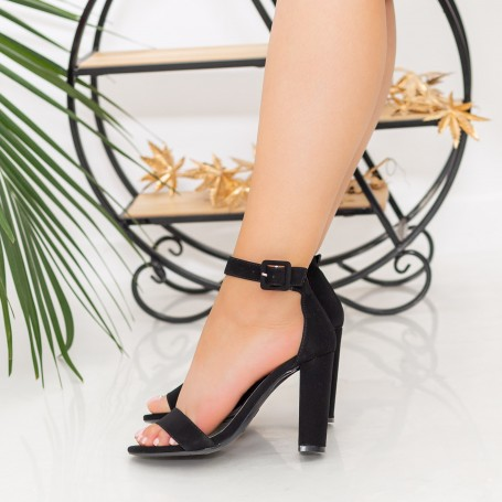 Sandale Dama cu Toc gros XKK236 Black Mei