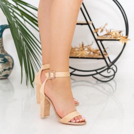 Sandale Dama cu Toc gros XKK236 Nude Mei