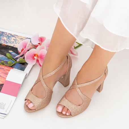 Sandale Dama cu Toc gros XD83C Champagne Mei