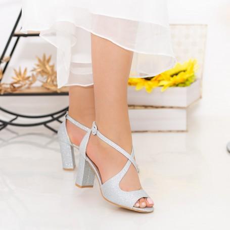 Sandale Dama cu Toc gros XD83C Silver Mei