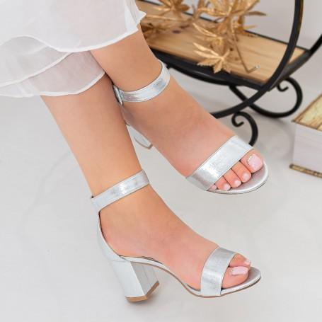 Sandale Dama cu Toc gros XKK230 Silver Mei