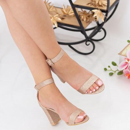 Sandale Dama cu Toc gros YXD10A Champagne Mei
