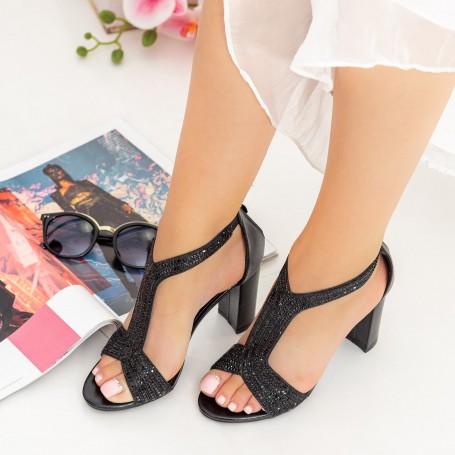 Sandale Dama cu Toc gros GH1963 Black Mei