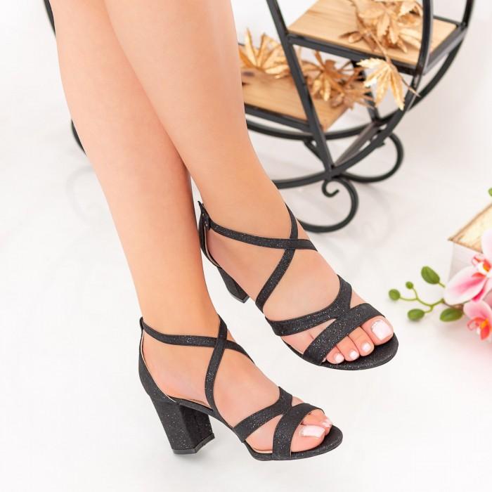 Sandale Dama cu Toc gros XDR275A Black Mei