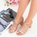 Sandale Dama cu Toc gros XDR275A Champagne (L83) Mei