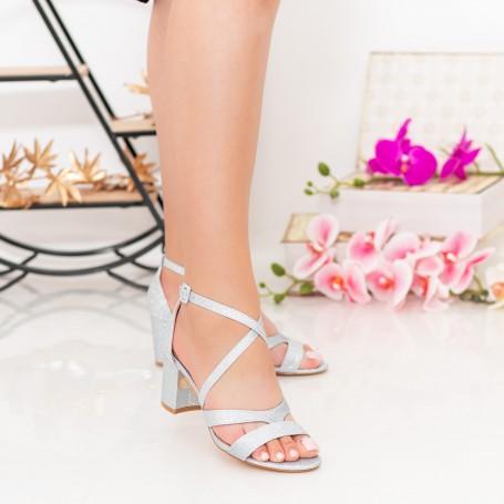 Sandale Dama cu Toc gros XDR275A Silver Mei
