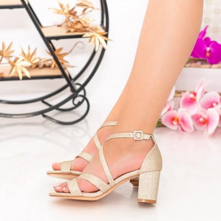 Sandale Dama cu Toc gros XDR275A Gold Mei
