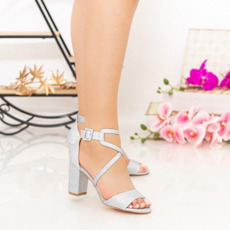 Sandale Dama cu Toc gros XDR276A Silver Mei