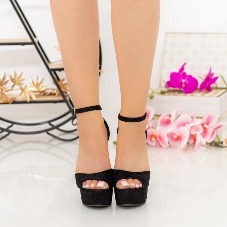 Sandale Dama cu Toc subtire si Platforma XKK207 Black Mei