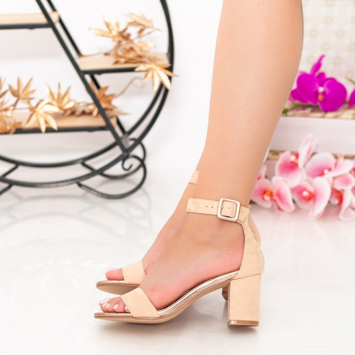 Sandale Dama cu Toc gros XKK230 Nude Mei
