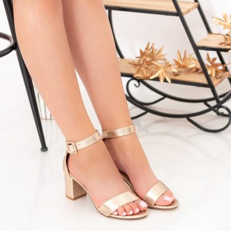 Sandale Dama cu Toc gros XKK230 Gold Mei