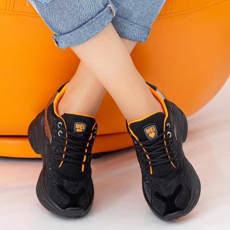 Pantofi Sport Dama cu Platforma SZ231 Black-Orange Mei
