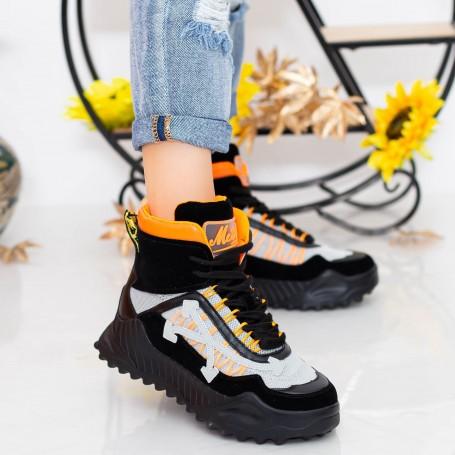 Pantofi Sport Dama cu Platforma SZ239 Black-Orange Mei
