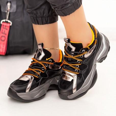 Pantofi Sport Dama SZ261 Negru-Portocaliu Mei