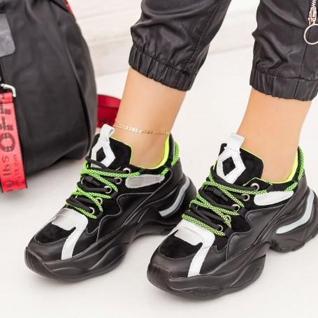 Pantofi Sport Dama SZ261 Negru-Verde Mei
