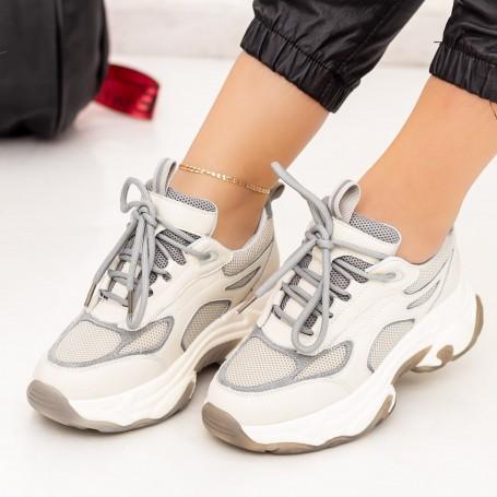 Pantofi Sport Dama SZ267 Crem-Gri Mei