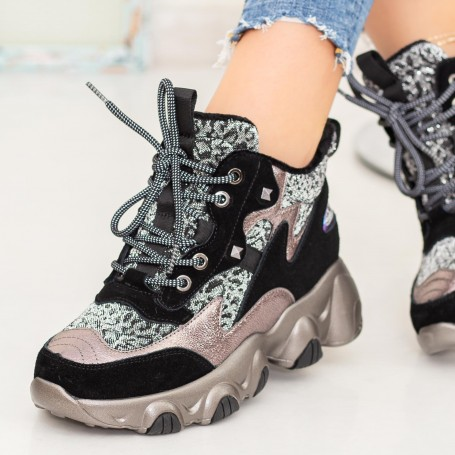 Pantofi Sport Dama SZ277 Negru-Leopard Mei