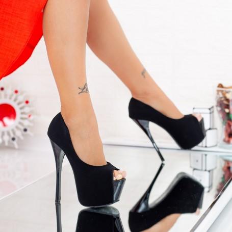 Sandale Dama cu Toc si Platforma HLX73 Black Mei