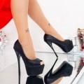 Sandale Dama cu Toc si Platforma HLX76A Black Mei