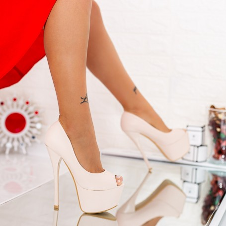 Sandale Dama cu Toc subtire si Platforma HLX76A Beige Mei