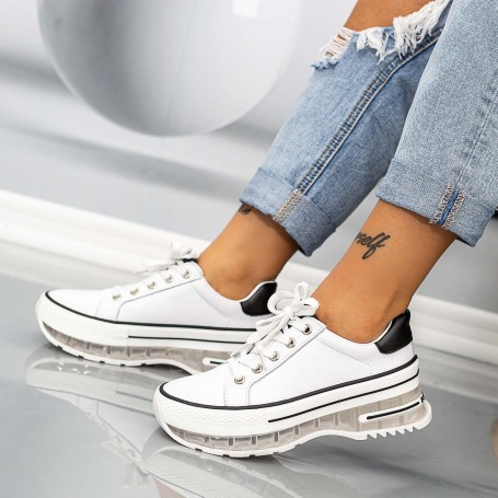 Pantofi Sport Dama SZ302 Alb-Negru Mei