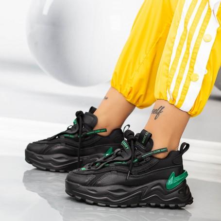 Pantofi Sport Dama WLLXE6 Negru-Verde Mei