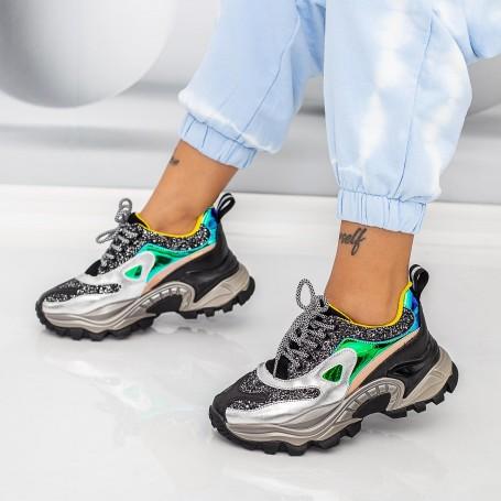 Pantofi Sport Dama SZ335 Negru-Argintiu Mei