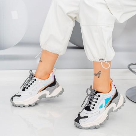 Pantofi Sport Dama SZ335 Alb-Negru Mei