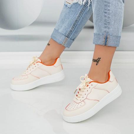 Pantofi Sport Dama AN87 Bej-Portocaliu Mei