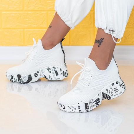 Pantofi Sport Dama cu Platforma WLGH61 Alb Mei