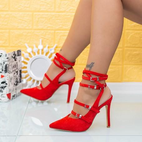Sandale Dama cu Toc subtire XKK285 Rosu Mei