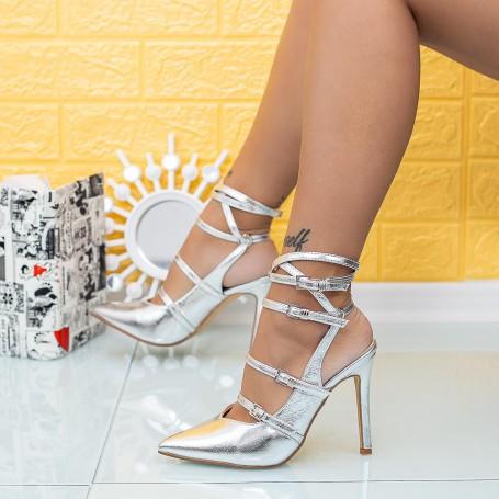 Sandale Dama cu Toc subtire XKK285 Argintiu Mei