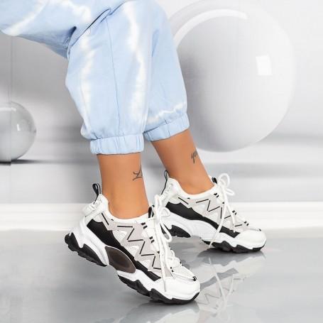 Pantofi Sport Dama LGHW Alb-Negru Mei