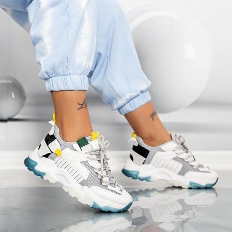 Pantofi Sport Dama LGYED11 Alb-Gri Mei