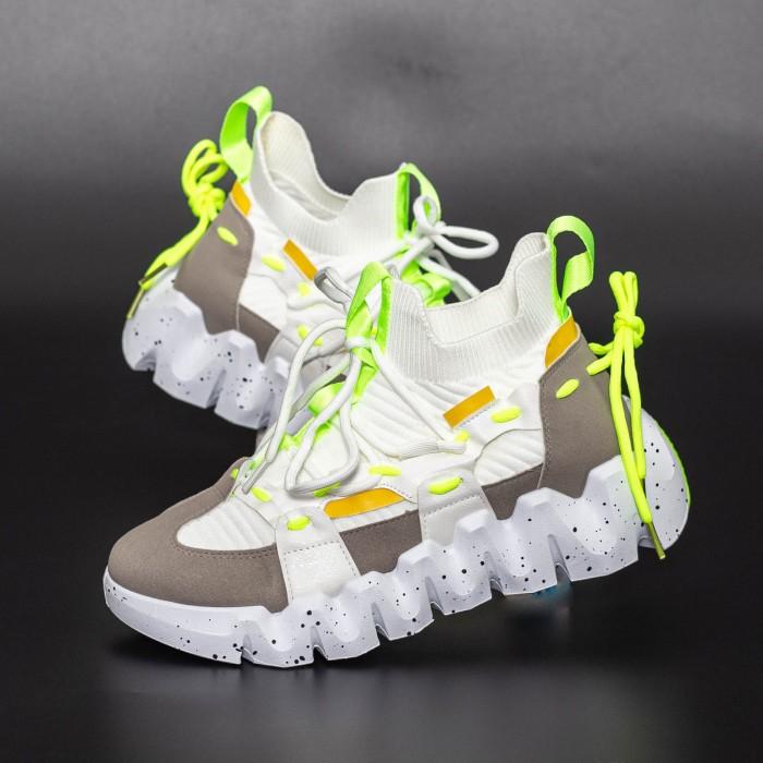 Pantofi Sport Barbati LGMB5 Alb-Verde fluorescent Mei