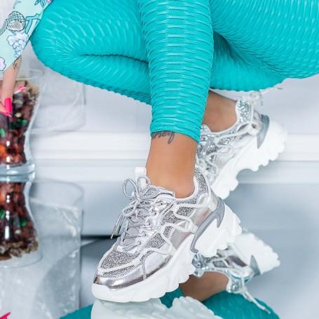 Pantofi Sport Dama SZ339 Argintiu Mei